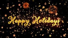 Buenas fiestas las partículas y la tarjeta de felicitación abstractas de los fuegos artificiales del brillo mandan un SMS ilustración del vector