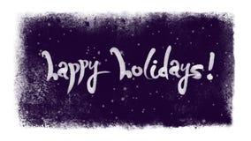 Buenas fiestas letras caligráficas con nieve dentro de un marco congelado stock de ilustración
