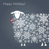 Buenas fiestas ovejas Tarjeta de felicitación Imagen de archivo libre de regalías