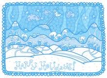 ¡Buenas fiestas! Paisaje azul del invierno Fotografía de archivo libre de regalías