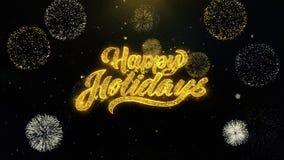 Buenas fiestas partículas escritas del oro que estallan la exhibición de los fuegos artificiales