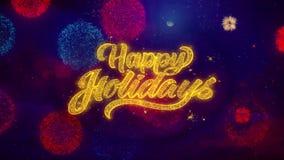 Buenas fiestas saludo de part?culas de la chispa del texto en los fuegos artificiales coloreados