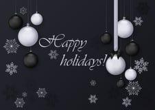 Buenas fiestas tarjeta de felicitación con la decoración de plata y negra de las bolas Fondo de lujo superior de la decoración de Fotos de archivo libres de regalías