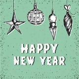 Buenas fiestas tarjeta de felicitación con las decoraciones dibujadas mano de la Navidad Fondo del saludo del vintage Imagenes de archivo