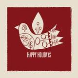Buenas fiestas tarjeta de felicitación del pájaro de la crema del vector en fondo rojo libre illustration