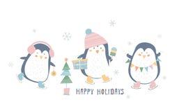 Buenas fiestas Tarjeta de felicitación Ilustración del vector en el fondo blanco imágenes de archivo libres de regalías