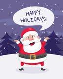 Buenas fiestas tarjeta de felicitación de la Navidad Santa en la nieve Imagen de archivo