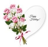 Buenas fiestas tarjeta de felicitación en forma de corazón con una rosa Imágenes de archivo libres de regalías
