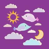 Buenas noches del ejemplo del vector Dos pequeños pequeños pescados desean sueños dulces Imagenes de archivo