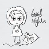 Buenas noches del niño de la muchacha Imagen de archivo libre de regalías