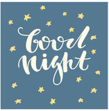 Buenas noches Letras escritas mano Letras dibujadas mano linda Foto de archivo libre de regalías