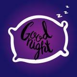 Buenas noches Letras Handdrawn del cepillo Imagenes de archivo