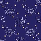 Buenas noches Vector el modelo inconsútil de palabras manuscritas y de estrellas fotografía de archivo