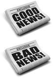 Buenas noticias y malas noticias Imagen de archivo libre de regalías