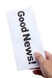 Buenas noticias y sobre imagen de archivo libre de regalías