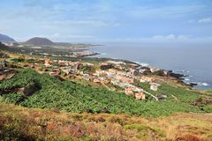 Buenavista del Norte, Tenerife. Tenerife island, Spain - landscape of Buenavista del Norte (North coast). Banana plantations Royalty Free Stock Image