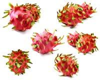 Bueno nutritivo de la fruta roja del dragón para la salud en el fondo blanco Imagen de archivo