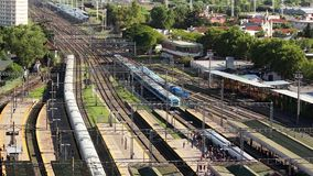 Suburban passenger electric train. Buenos Aires, Argentina - 09 / April / 2018. Suburban passenger electric train entering a station, in the Prov. Of Buenos stock video