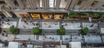 Aerial view of Calle Florida Florida Street - Buenos Aires, Argentina. Buenos Aires, Argentina - Feb 04, 2018: Aerial view of Calle Florida Florida Street Stock Images