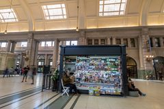 Newsstand in Retiro train station - Buenos Aires, Argentina. Buenos Aires, Argentina - Feb 11, 2018: Newsstand in Retiro train station - Buenos Aires, Argentina stock image