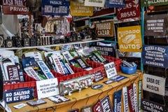 Signs and Antiquities at Feria de San Telmo San Telmo Market - Buenos Aires, Argentina royalty free stock photos