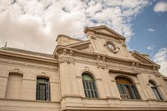 Buenos Aires. Argentina. February 3, 2018. Main facade of the Bahía Blanca station in the province of Buenos Aires royalty free stock image