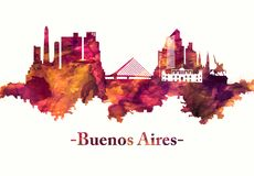 Buenos Aires Argentina horisont i rött vektor illustrationer