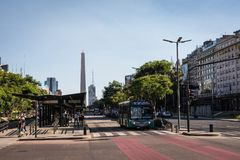 BUENOS AIRES, ARGENTINA - JANUARY 30, 2018: The Obelisk is a maj royalty free stock image