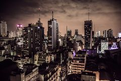 Buenos Aires Argentina. Long exposure in Buenos Aires Argentina City at night royalty free stock photo