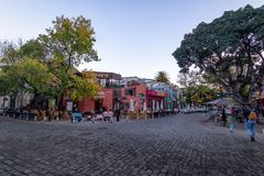 Bar and restaurants at Palermo Soho bohemian neighborhood - Buenos Aires, Argentina. Buenos Aires, Argentina - May 11, 2018: Bar and restaurants at Palermo Soho stock photography
