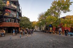 Bar and restaurants at Palermo Soho bohemian neighborhood - Buenos Aires, Argentina. Buenos Aires, Argentina - May 11, 2018: Bar and restaurants at Palermo Soho royalty free stock photography