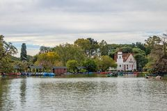 Bosques de Palermo Palermo Woods lake with Sivori Museum on background - Buenos Aires, Argentina. Buenos Aires, Argentina - May 13, 2018: Bosques de Palermo stock images
