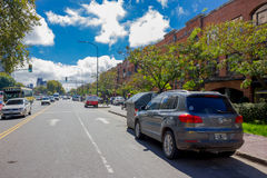 BUENOS AIRES, ARGENTINA - MAY 02, 2016: car parked in a nice street on a sunny day Stock Photography