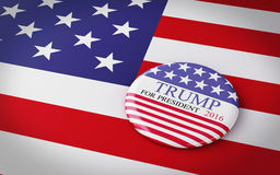 Buenos Aires, Argentina - 12 MAY, 2016: 3d Illustration of presi. Dential campaign pins of Donald Trump running for the president's office with US flag Royalty Free Stock Photo