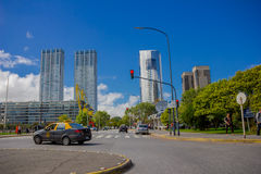 BUENOS AIRES, ARGENTINA - MAY 02, 2016: nice view of some modern buildings located close to the river and in front of a. Park royalty free stock photography