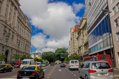 BUENOS AIRES, ARGENTINA - MAY 02, 2016: normal traffic in the street on a sunny day Stock Images