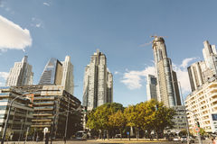 BUENOS AIRES, ARGENTINA - MAYO 09, 2017: Skyscrapers, modern hig. H rise apartments and office buildings, Azucena Villaflor street, towers in puerto madero Stock Photo