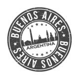 Buenos Aires Argentina Round Button City Skyline Design Stamp Vector Travel Tourism. Skyline with emblematic Buildings and Monuments of this famous city stock illustration