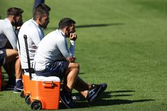 Carlos Tevez looking the training royalty free stock image