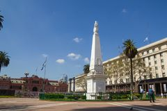The Plaza de Mayo English: May Square is the main square in Buenos Aires. BUENOS AIRES, ARGENTINA - SEPTEMBER 12:The Plaza de Mayo English: May Square is the Royalty Free Stock Photos