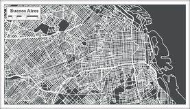 Buenos Aires Argentina stadsöversikt i Retro stil skisserar kartlägger stock illustrationer