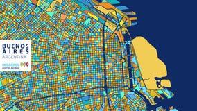Buenos Aires, Argentyna, Kolorowy Wektorowy Artmap ilustracja wektor