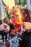 Buenos Aires, C A B A , Argentyna, Marzec - 8, 2019: 8M protestacyjne kobiety zdjęcia stock