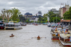 Buenos Aires canal, boats. Royalty Free Stock Photo