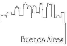 Buenos Aires city one line drawing abstract background. Abstract background with  metropolis cityscape Royalty Free Stock Photos