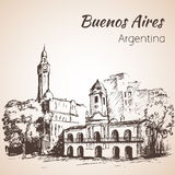 Buenos Aires city street and square. Argentina. Sketch. Royalty Free Stock Photo