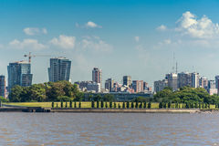 Buenos Aires City view from the Rio de la Plata river. South Ame Royalty Free Stock Photography