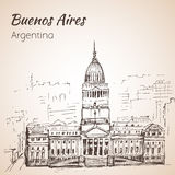 Buenos Aires cityscape. Argentina. Sketch.  on white bac Stock Image