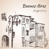 Buenos Aires cityscape Caminito arenaceous skissa royaltyfri illustrationer