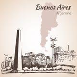 Buenos Aires cityscape med obelisken arenaceous skissa stock illustrationer